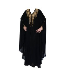White On Black Design Jersey Abaya