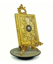 Gold Ornamental Quran Case and Vertical Stand