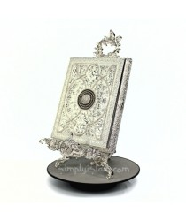 Silver Ornamental Quran Case and Vertical Stand