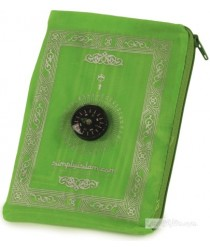 Travel Pocket Prayer Mat with Compass - Lime Green
