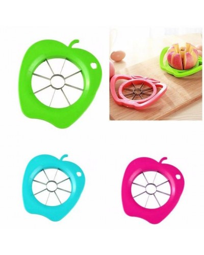 Assorted Colour Apple Slicer Cutter Plastic Sharp Metal Blade Kitchen 1052 (Parcel Rate)