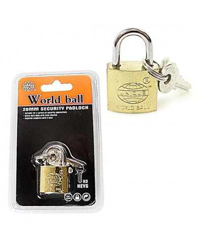 25mm Heavy Duty World Ball Unique Padlock 3 Keys Attached Diy 0243 (Large Letter Rate)