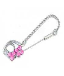 Chain Pins Bright Pink RIBBON Hijab Pin