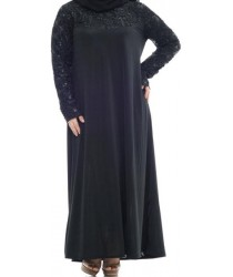 Anaya Sequin Lace Jilbab with lace and sequin bodice: Black