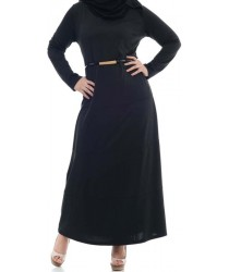 Anaya Belted Jilbab with detachable belt: Black
