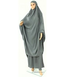 Womens 2 Piece Ehram Ahram Khimar Prayer Dress Outfit - Grey