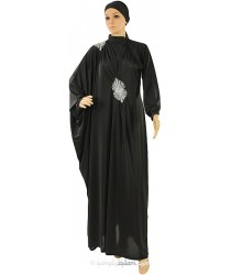 Anaya Shoulder Sequin Jilbab with Sequin motif front: Black