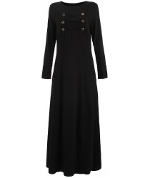 Anaya Army Jilbab with Button Design on Chest - Black